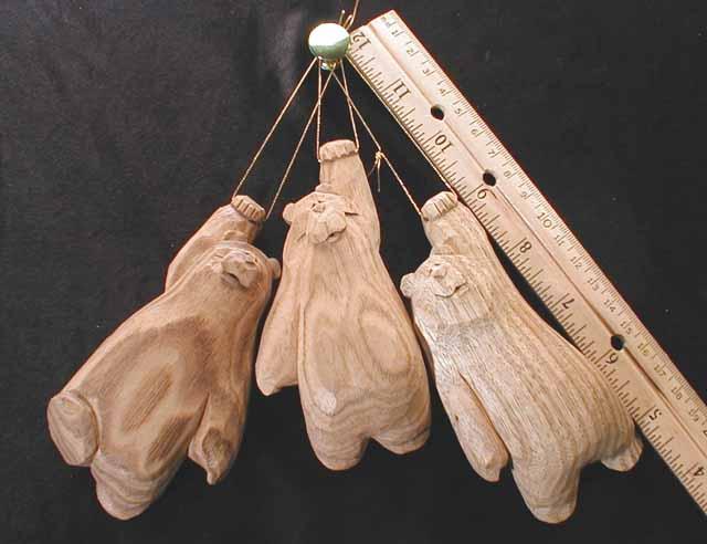 Butternut Bear Ornament - Noggins Wood Carving Ornaments