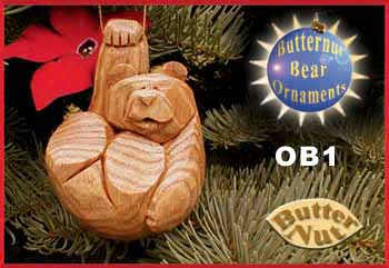butternut bear legs up - Bear Christmas Decorations