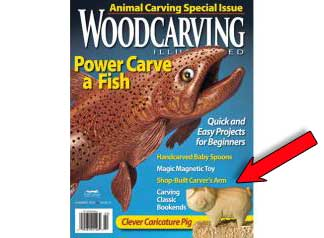 wood carving kit by Christine Coffman featured in Woodcarving Illustrated Magazine