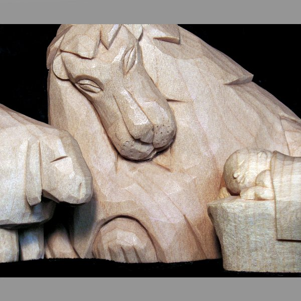 Lion and the lamb nativity carvings